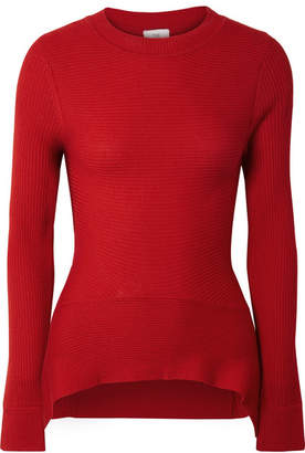 Tome Ribbed Merino Wool, Silk And Cashmere-blend Sweater - Red
