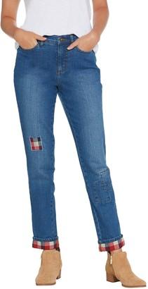 Denim & Co. Petite Classic Denim Plaid Patch Ankle Jeans