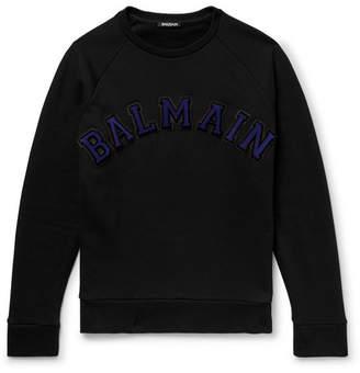 Balmain Logo-Appliquéd Fleece-Back Cotton-Jersey Sweatshirt