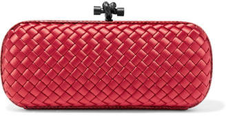 Bottega Veneta The Knot Watersnake-trimmed Intrecciato Satin Clutch - Red
