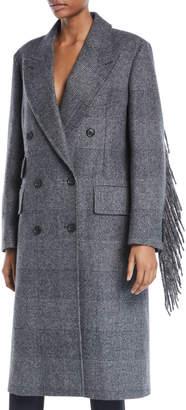 Max Mara Double-Breasted Fringe-Sleeves Plaid Wool Coat