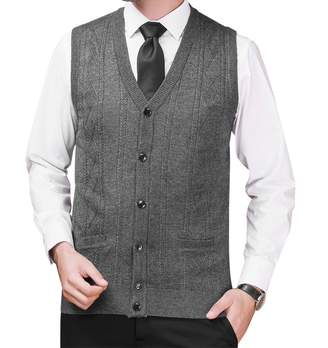 0d74882091a88 Zicac Men s V-neck Cardigan Button Sweater Vest With Pockets ...