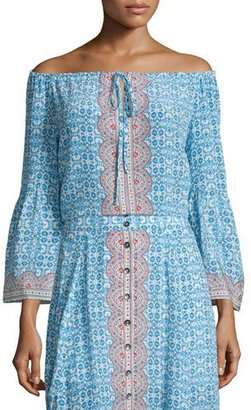 Nanette Lepore 3/4-Sleeve Printed Silk Top, Blue/Multi $378 thestylecure.com