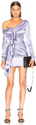 Alexandre Vauthier Asymmetrical Shoulder Ruffle Dress