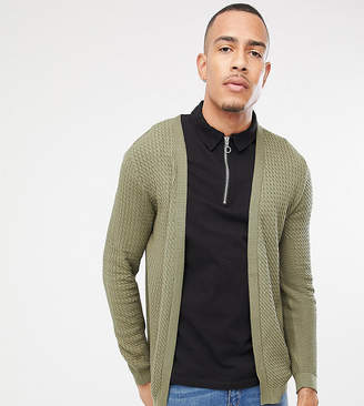 Asos Design DESIGN Tall lightweight cable cardigan in khaki