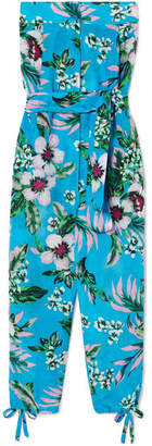 Diane von Furstenberg Belted Floral-print Cotton And Silk-blend Jumpsuit - Blue