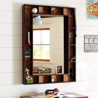 Pottery Barn Teen Pinboard Display Shelf Framed Mirror, Dark Espresso/Cork