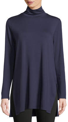 Eileen Fisher Mock-Neck Terry Long Tunic Sweater, Petite