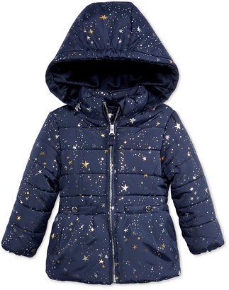 Oshkosh B'Gosh Star-Print Puffer Jacket with Faux-Fur, Toddler Girls (2T-4T) $100 thestylecure.com