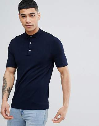 New Look Muscle Fit Polo Shirt In Navy