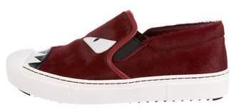 Fendi Ponyhair Slip-On Sneakers