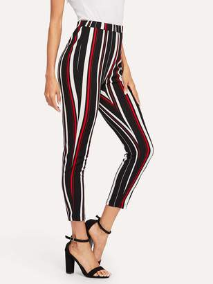 Shein Stretch Knit Striped Crop Pants