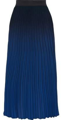 Maje Pleated Dégradé Crepe Midi Skirt