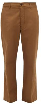 Lemaire Straight Leg Cotton Chino Trousers - Mens - Brown