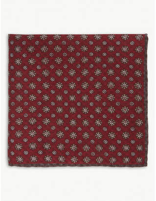 Eleventy Reversible check floral cotton-wool pocket square