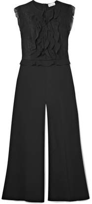 RED Valentino Ruffled Chiffon, Crepe And Lace Jumpsuit - Black