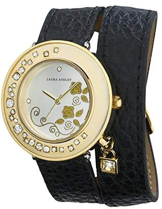 Laura Ashley Women's LA31008BK Analog Display Japanese Quartz Black Watch $29.99 thestylecure.com