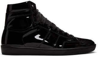 Saint Laurent Black Patent Court Classic SL/10H High-Top Sneakers