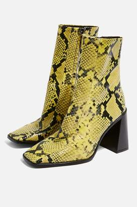 Topshop Womens Hurricane Neon High Ankle Boots - Yellow