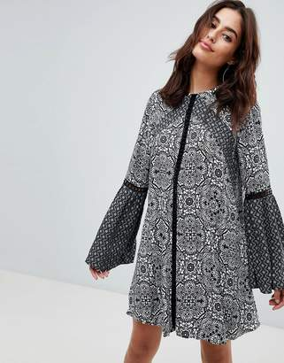The Jetset Diaries Lilith Tile Print Mini Dress with Trumpet Sleeves