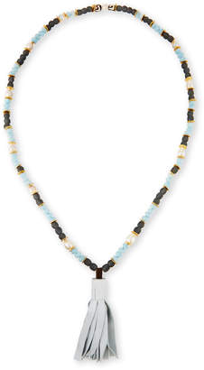 Neiman Marcus Akola Long Beaded Necklace with Leather Tassel, Blue/Gray