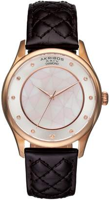 Akribos XXIV Women's Ornate Diamond Leather Watch