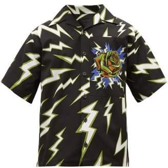 Prada Lightning Bolt Print Cotton Twill Shirt - Mens - Black Green