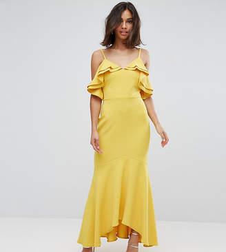 John Zack Petite Ruffle Bust Fishtail Maxi Dress