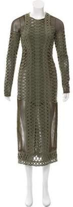 Jonathan Simkhai Mesh Lace-Accented Dress Green Mesh Lace-Accented Dress