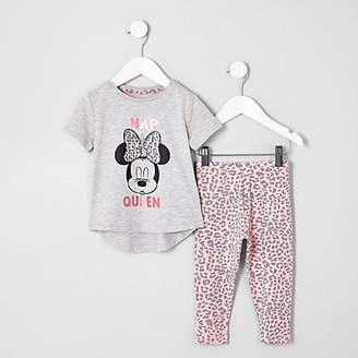 River Island Mini girls pink Minnie Mouse pyjama set