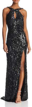 Mac Duggal Sequined Drape-Back Gown