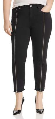 Seven7 Jeans Plus Zip Detail Cropped Straight-Leg Jeans in Abbys Black