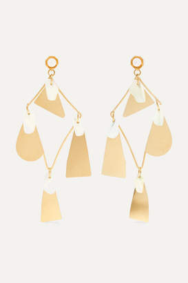 Annie Costello Brown Galante Gold-tone Pearl Earrings - one size