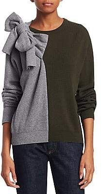 Carven Women's Wool-Blend Color Block Bow Sweater