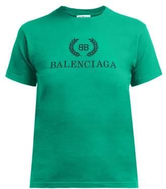 Balenciaga Logo Print Cotton T Shirt - Womens - Green