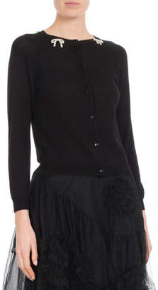 Simone Rocha Round-Neck Button-Front Cardigan with Pearlescent-Bow Detail