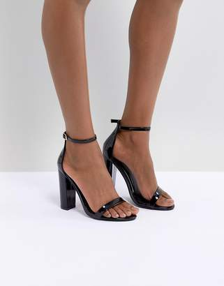 Missguided Block Heeled Patent Barely There