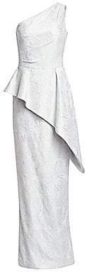 Teri Jon by Rickie Freeman Women's One-Shoulder Asymmetric Peplum Gown