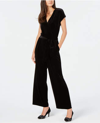 Alfani Petite Belted Velvet Jumpsuit
