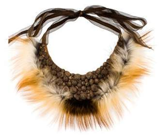 Fendi Beaded Fur Collar Necklace green Beaded Fur Collar Necklace