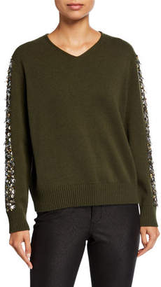 Lafayette 148 New York Cashmere V-Neck Sweater with Sequins