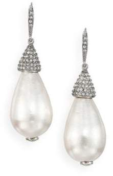 Oscar de la Renta Bridal Faux Pearl& Crystal Teardrop Earrings