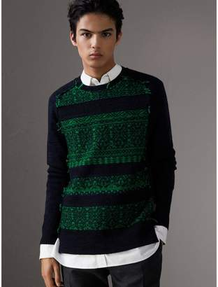 Burberry Fair Isle Detail Wool Cashmere Sweater