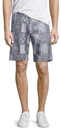 Robert Graham Doaba Card-Print Shorts, Blue $148 thestylecure.com