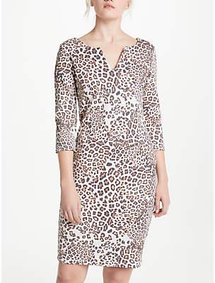 Oui Leo Print Dress, Light Grey