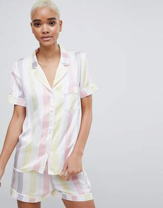 Missguided Stripe Satin Pyjama Set