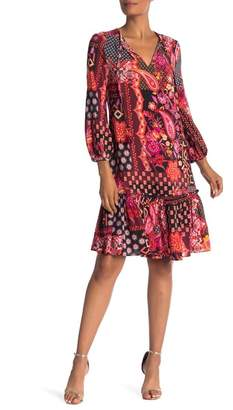 Trina Turk Jaine Split V-Neck Print Silk Dress
