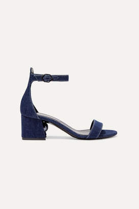 Nicholas Kirkwood Miri Faux Pearl-embellished Denim Sandals - Mid denim