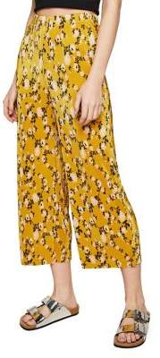 Miss Selfridge Ochre Crop Plisse Trousers