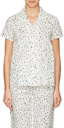 Castle & Hammock Women's Dot-Print Cotton Short-Sleeve Top - White & Blue Dot